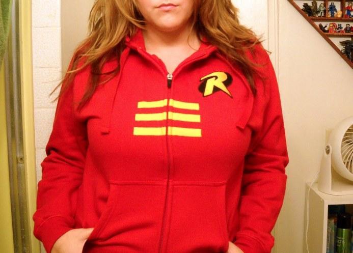 Robin, the hoodie hostage.