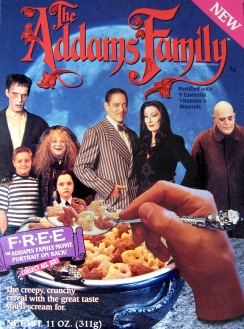 Creepy, kooky, altogether ooky looking cereal. Thankfully there were no MC Hammer soundtrack tie-ins