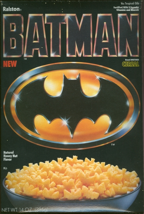 Basically a Cap'n Crunch variant for 1989's Tim Burton Batman movie. If only they offered a limited edition Billy Dee Williams Harvey Dent mask on the back...