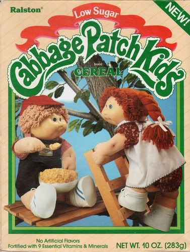 Not just a line of dolls and a victory dance, Cabbage Patch Kids had their own cereal. If only Garbage Pail Kids followed suit....