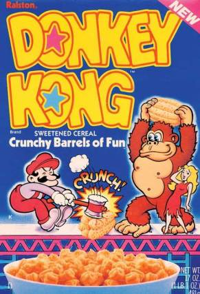 Donkey Kong took time out from enforcing Pauline's restraining order on creepy stalker plumber Mario to give us this awesome cereal.