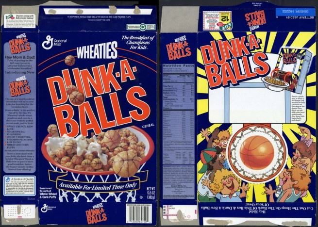 """Wheaties had to profit on the basketball slam dunk craze, but """"Dunk-a-Balls""""? Let's not go there, shall we?"""