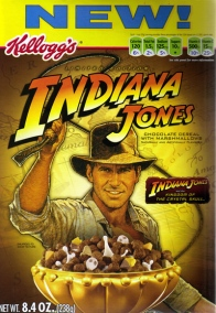 This was a 2007 cereal for Kingdom of the Crystal Skull, but the box art was pulled from Raiders of the Lost Ark. Guess 70 year-old Indy wasn't moving units.