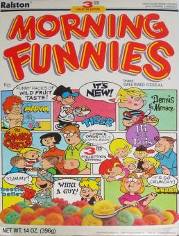 The world's unfunniest comic strips were assembled together on a very unfunny cereal box. Not surprised no one's heard of this.
