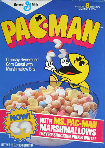 Sweetened corn pellets, marshmallow Pac-Man & ghost shapes and Ms. Pac-Man thrown in as a bonus!