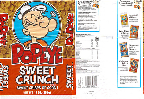 Popeye cereal came in bags in a variety of types. Sweet crunch was the best.