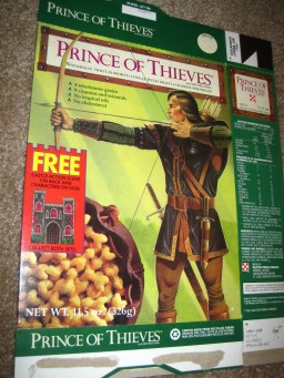 """You KNOW you were down with the struggle if you ate """"Prince of Thieves"""" cereal. Kevin Costner couldn't even stick around to pose for the box photo, so they drew it on."""