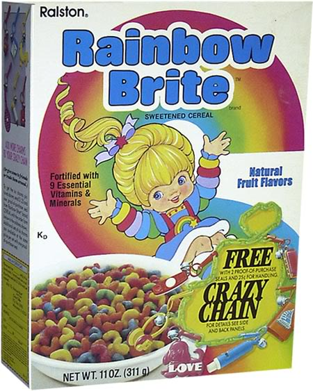 Of all 80's cartoons, you'd think Rainbow Brite would be perfect for a cereal. Hero to future activists everywhere.