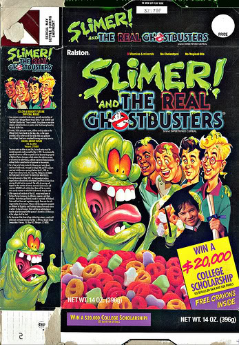"""Another spin-off cereal, Slimer ended up being the """"break-out"""" star of The Real Ghostbusters, forcing this cereal on the masses."""