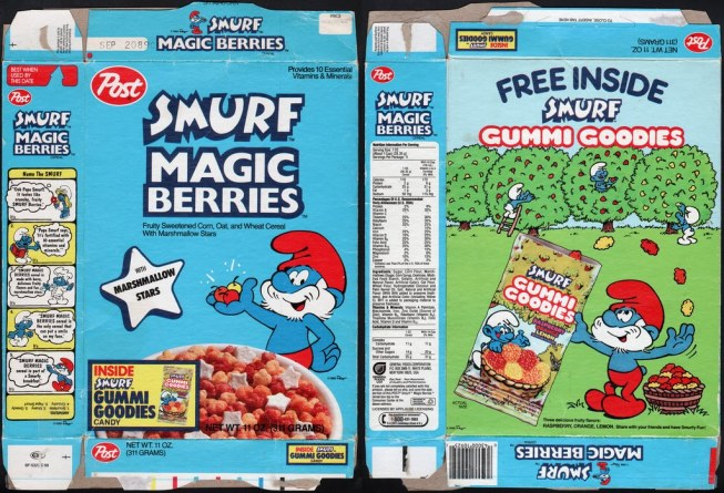 Smurf-Berry Crunch wasn't enough. Years later, Post gave us Smurf Magic Berries. Think Crunch Berries without the crunch...