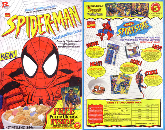 The first of several Spidey cereals. Spider-man turns 50 this year.