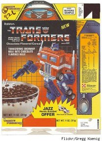 This was an unreleased cereal. Would've been a great tie-in, but chocolate balls? WTF does that have to do with robots in disguise?