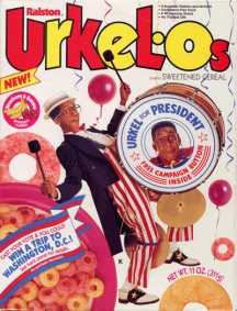 Steve Urkel was at the height of popularity in the 90's, so much so he used his cereal to campaign for the presidency
