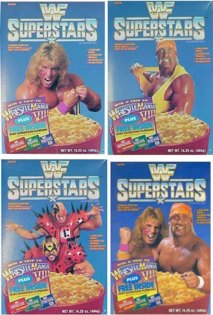 Four box variants of WWF Superstars cereal. Don't eat this around Papa Shango...