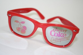 When Cherry Coke debuted in 1985, they had a lot of promotional stuff out, like these funky glases. No one actually wore these, I don't think...