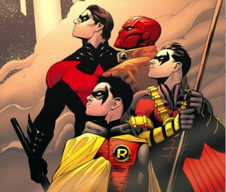 Red means Robin. Here are a few of them, all trained by Batman. (RIP Damian)