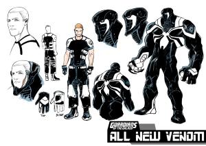 The new Venom suit Artwork by Valerio Schiti