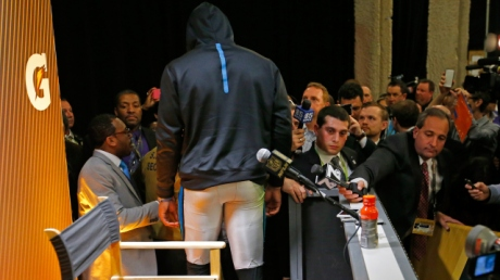 SANTA CLARA, CA - FEBRUARY 07:  Cam Newton #1 of the Carolina Panthers walks out of his post game press conference following their loss to the Denver Broncos in Super Bowl 50 at Levi's Stadium on February 7, 2016 in Santa Clara, California.  (Photo by Kevin C. Cox/Getty Images)
