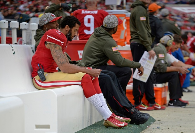 San Francisco 49ers quarterback Colin Kaepernick (7) sits on the bench while playing the Atlanta Falcons in the fourth quarter of their NFL game at Levi's Stadium in Santa Clara, Calif., on Sunday, Nov. 8, 2015. San Francisco defeated Atlanta 17-16. (Jose Carlos Fajardo/Bay Area News Group)